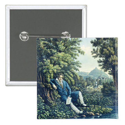 Ludwig van Beethoven by a River (coloured engravin Buttons