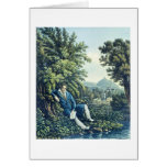 Ludwig van Beethoven by a River (coloured engravin Card