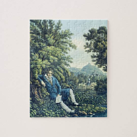 Ludwig van Beethoven by a River (coloured engravin Jigsaw Puzzle