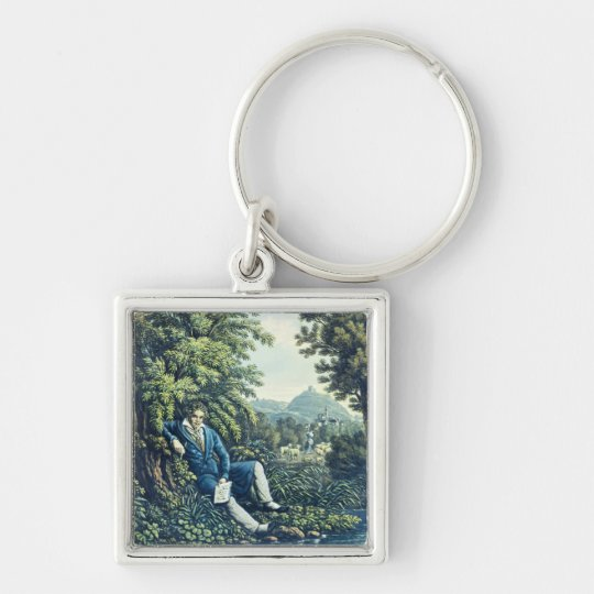 Ludwig van Beethoven by a River (coloured engravin Keychain