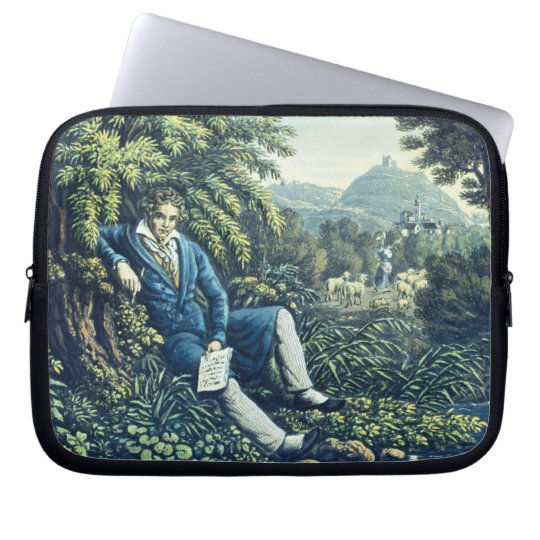Ludwig van Beethoven by a River (coloured engravin Laptop Sleeve