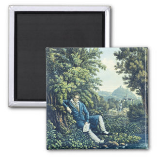 Ludwig van Beethoven by a River (coloured engravin Fridge Magnets
