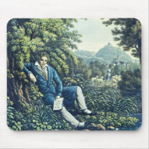 Ludwig van Beethoven by a River (coloured engravin Mouse Pad