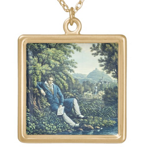 Ludwig van Beethoven by a River (coloured engravin Personalized Necklace