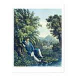 Ludwig van Beethoven by a River (coloured engravin Postcard