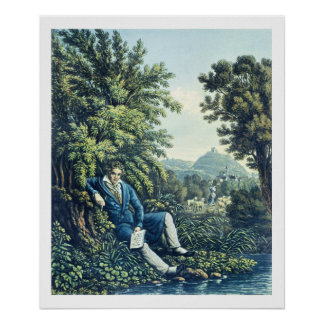 Ludwig van Beethoven by a River (coloured engravin Poster