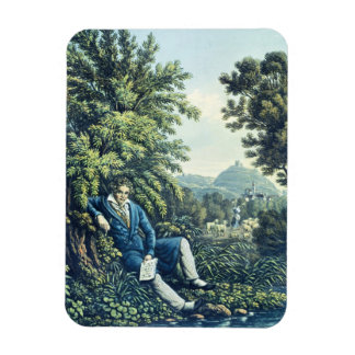 Ludwig van Beethoven by a River (coloured engravin Rectangular Magnet