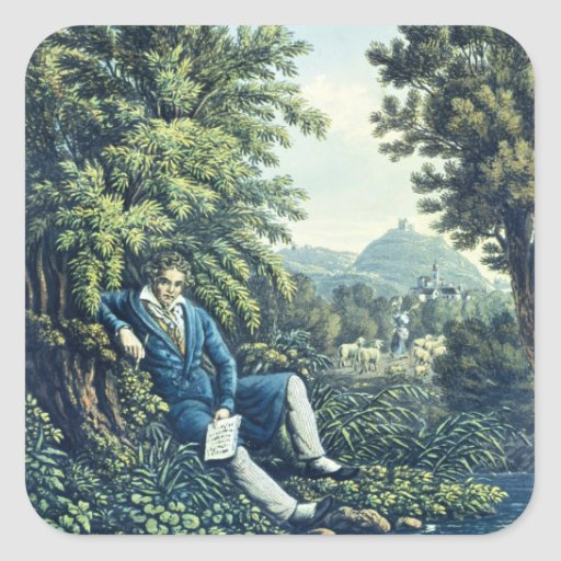 Ludwig van Beethoven by a River (coloured engravin Square Sticker