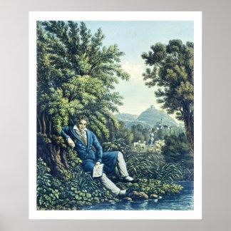 Ludwig van Beethoven por un río (engravin coloread Poster