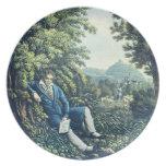 Ludwig van Beethoven por un río (engravin coloread Plato De Cena