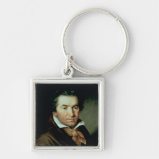 Ludwig van Beethoven Silver-Colored Square Keychain