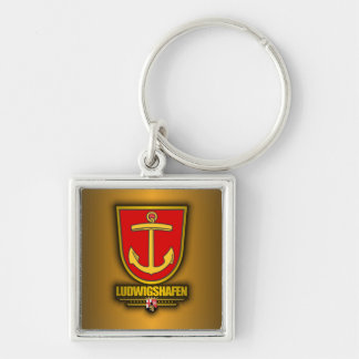 Ludwigshafen Silver-Colored Square Keychain