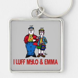Luff Mylo y a Emma Llavero Cuadrado Plateado