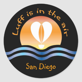 Luffers Sunset_Luff está en el aire San Diego Etiquetas Redondas