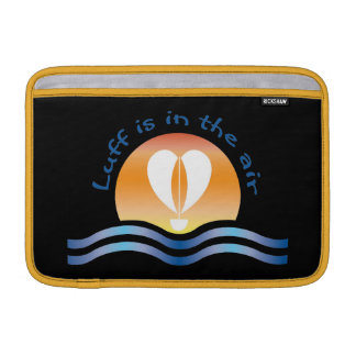 Luffers Sunset_Luff is in the air blue on black MacBook Air Sleeve
