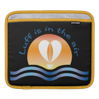 Luffers Sunset_Luff is in the air_blue on black Sleeves For iPads