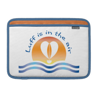 Luffers Sunset_Luff is in the air blue on white MacBook Air Sleeve