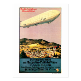 Luftschiff Zeppelin Airship over Town Poster Postcard
