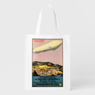 Luftschiff Zeppelin Airship over Town Poster Reusable Grocery Bag