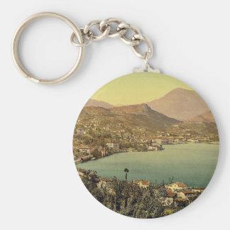 Lugano, from San Salvatore, Tessin, Switzerland vi Basic Round Button Keychain