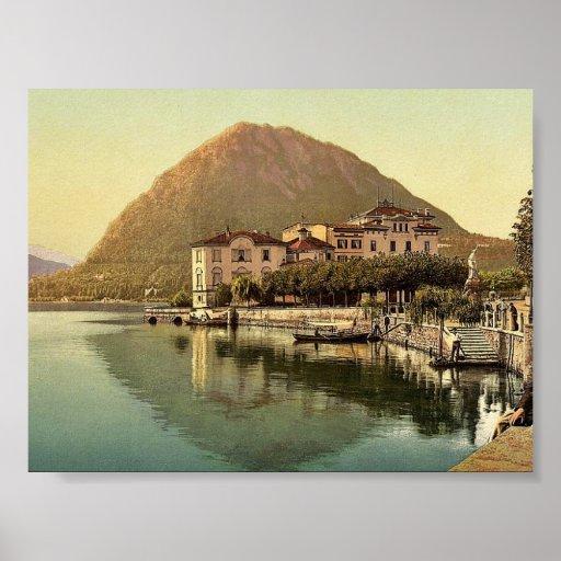 Lugano, the quay, and San Salvatore, Tessin, Switz Posters