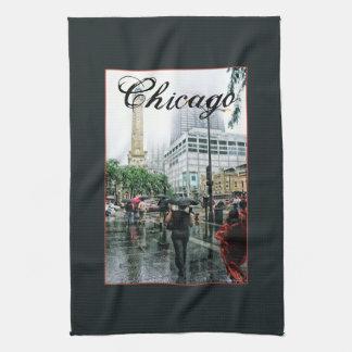 Lugar céntrico de la torre de agua de Chicago Toallas De Cocina