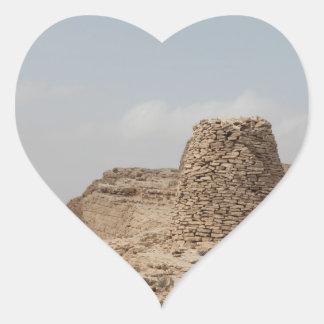 Lugar de enterramiento antiguo de Omán Pegatina En Forma De Corazón