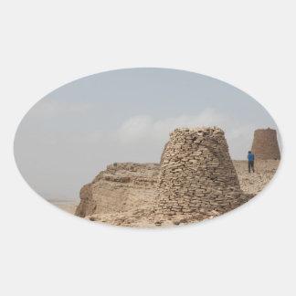 Lugar de enterramiento antiguo de Omán Pegatina Ovalada