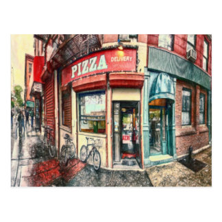 Lugar de la pizza de New York City por el mac de Tarjeta Postal