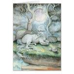 Lugar de la tarjeta de felicitación del unicornio