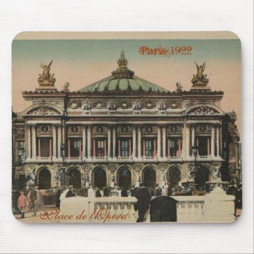 Lugar de l'Opera, París 1922 del recuerdo de París Tapete De Ratón