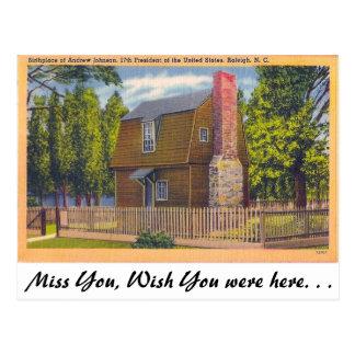 Lugar de nacimiento Andrew Johnson Tarjetas Postales
