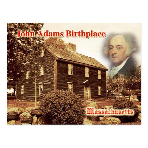 Lugar de nacimiento de John Adams, Massachusetts Postales