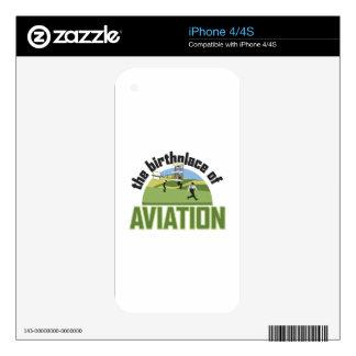 Lugar de nacimiento de la aviación calcomanía para el iPhone 4