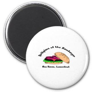 Lugar de nacimiento de la hamburguesa imanes para frigoríficos