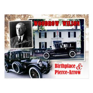 Lugar de nacimiento de Woodrow Wilson y limusina d Postal