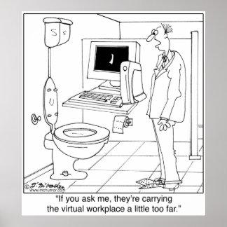 Lugar de trabajo virtual en un cuarto de baño posters