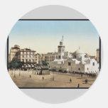 Lugar del gobierno, vintage Photoch de Argel, Pegatinas Redondas