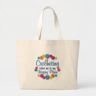 Lugar feliz Crocheting Bolsa Tela Grande