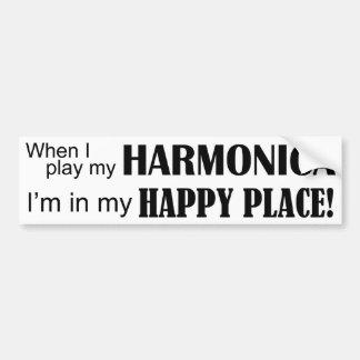 Lugar feliz de la armónica pegatina para auto