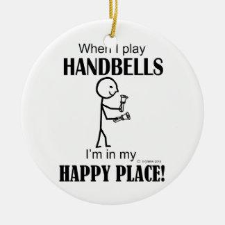 Lugar feliz de los Handbells Adorno Navideño Redondo De Cerámica