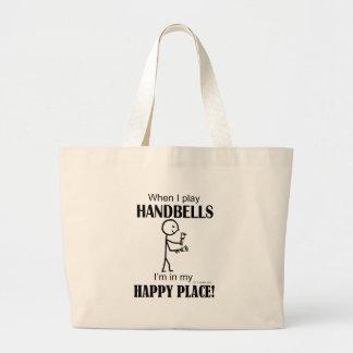 Lugar feliz de los Handbells Bolsa Tela Grande