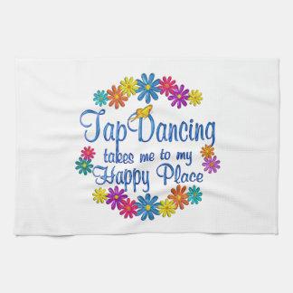 Lugar feliz del baile de golpecito toallas de mano