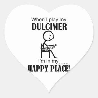 Lugar feliz del Dulcimer Pegatina En Forma De Corazón