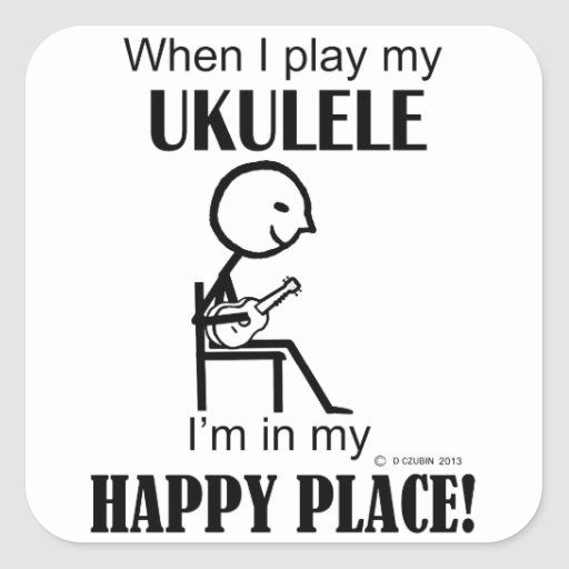 Lugar feliz del Ukulele Pegatina Cuadrada