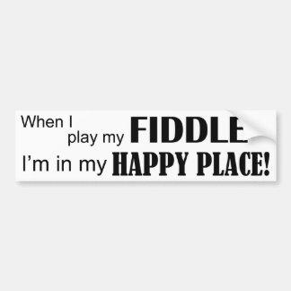 Lugar feliz del violín etiqueta de parachoque