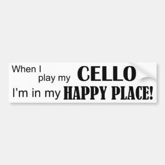 Lugar feliz del violoncelo pegatina para auto