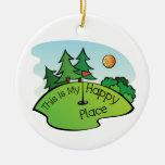 Lugar feliz Golfing del agujero del campo de golf Adorno Navideño Redondo De Cerámica
