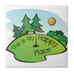 Lugar feliz Golfing del agujero del campo de golf Azulejo Cuadrado Pequeño