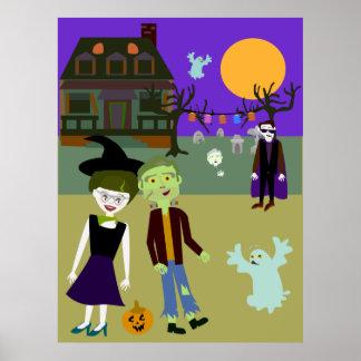 Lugar frecuentada de Halloween Póster